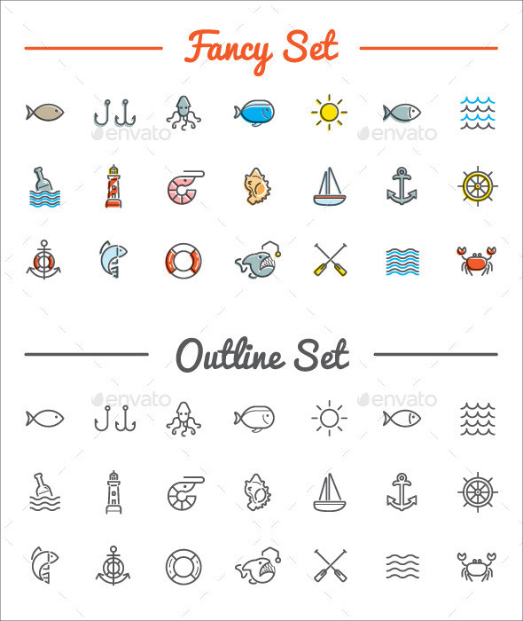 Sea Food Icons Set