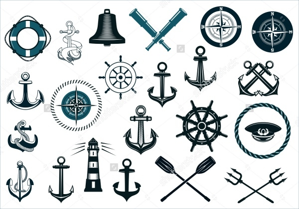 Set Of naval icons with anchor