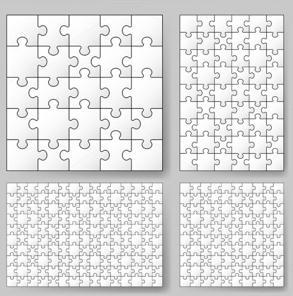 Set of Puzzle Vector Template