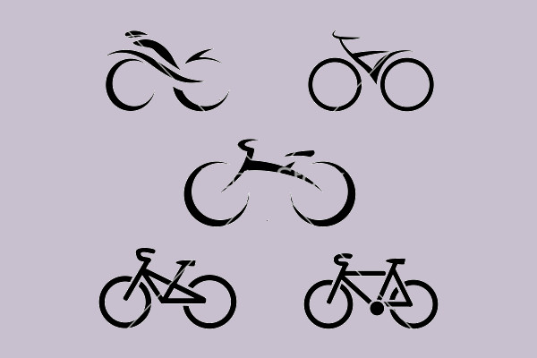 Set of icons with stylized bikes
