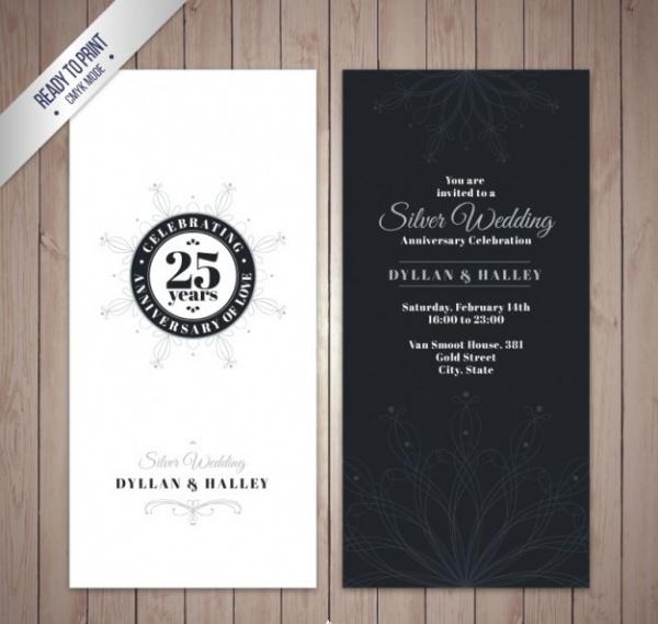 Silver Wedding Anniversary Invitation