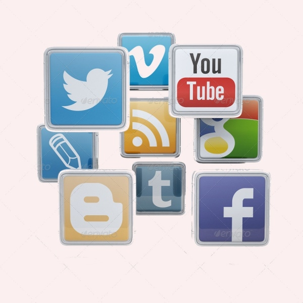 Social Network Media 3D Icons