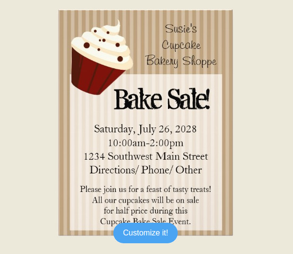 Bake Sale Flyer Templates  Psd Vector Eps Jpg Download