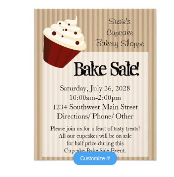 Soft Stripes Bake Sale Flyers