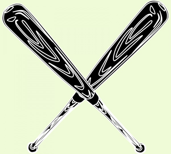 Softball Black Wooden Bat Vector