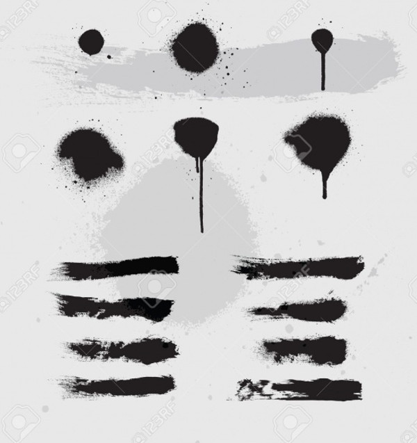 Splash and Ink Brush Sign Set