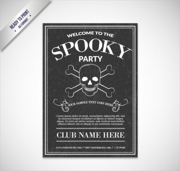 Spooky Party Chalk Board Flyer