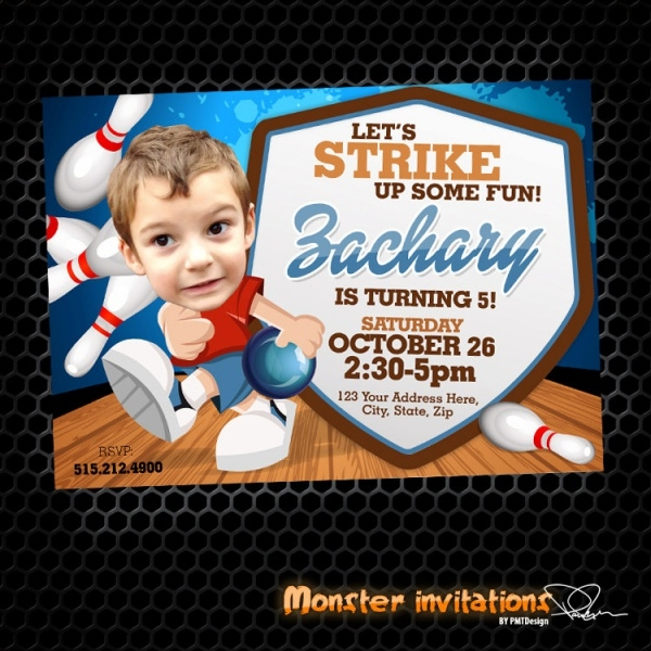 Sports Bowling Birthday Party Invitation