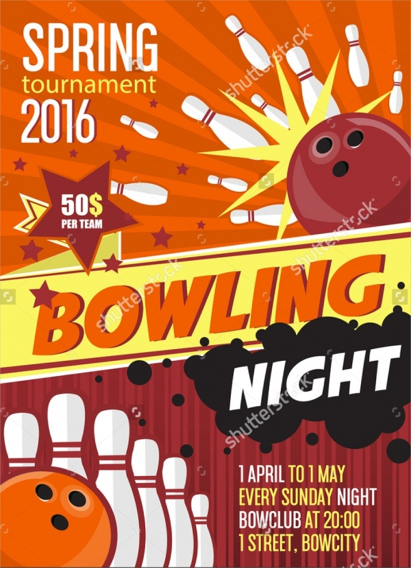 Spring Bowling Tournament Invitation Design