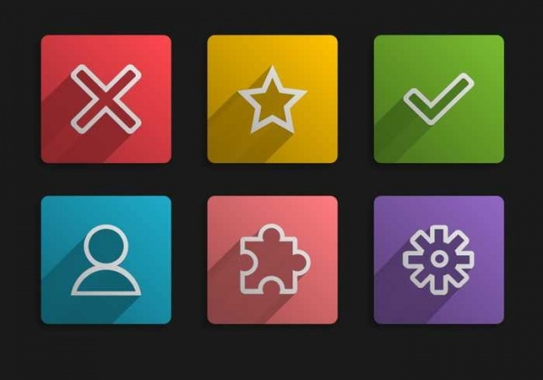 square minimal ui buttons icons