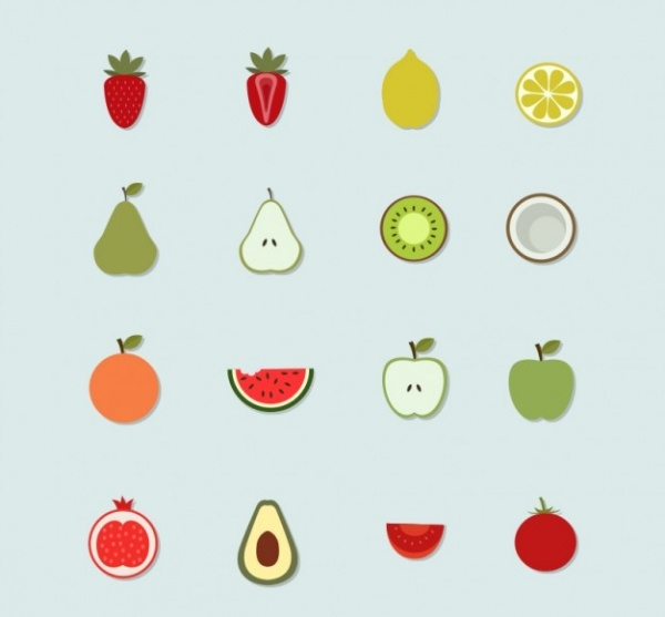Summer Fruit Healthy Icons