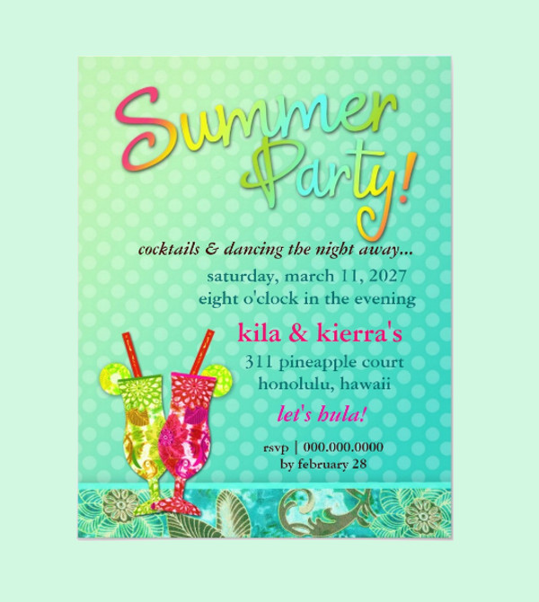 Summer Party Cocktails Invitation