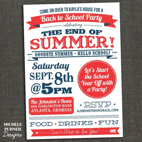 Summer School Party Invitation
