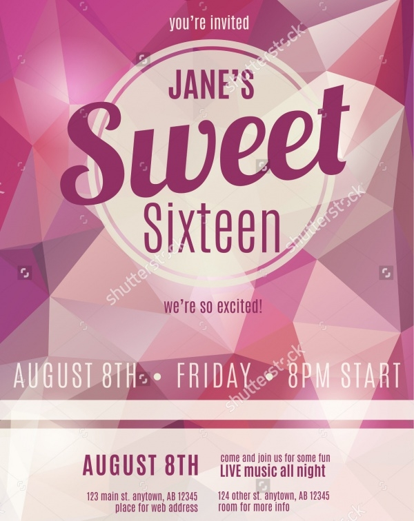 Sweet Sixteen Invitation Flyer