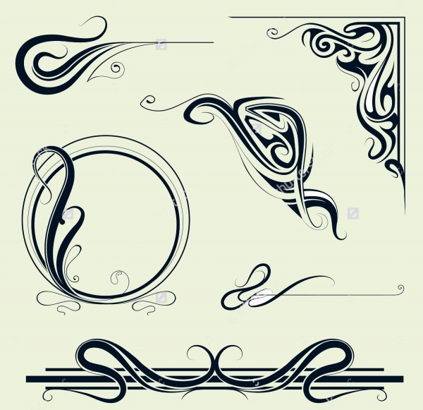 Swirl Border Elements Vector