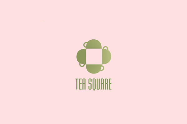 Tea Drink Square Shape Logo