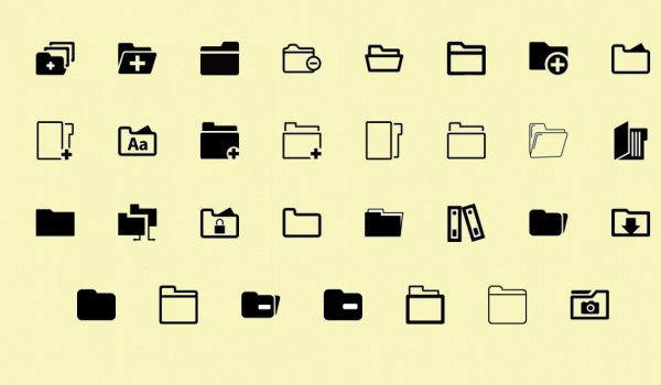 Thick Outlined Folder Icons
