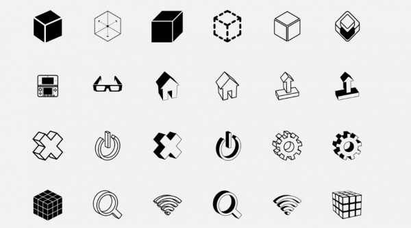 Thin Outlined Cuboid 3D Icons