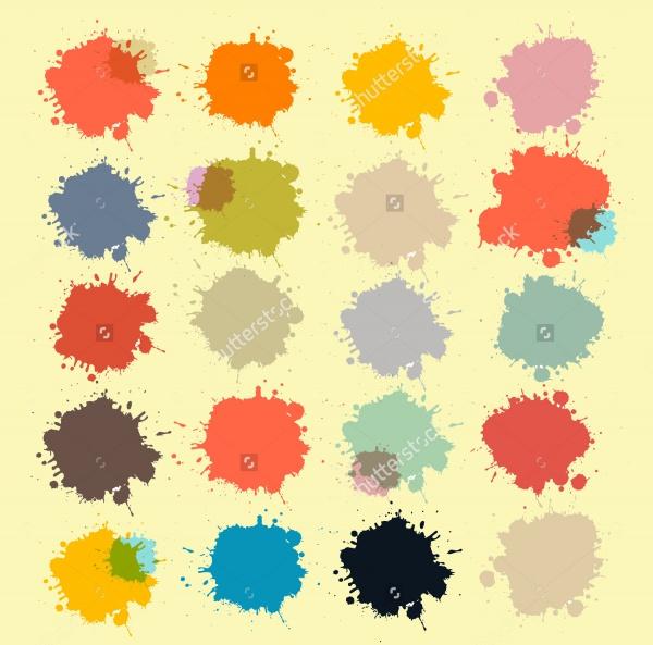 Transparent Colorful Retro Splash Brushes