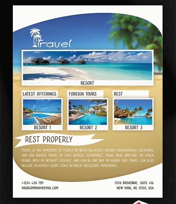 Free Travel Flyer Templates  NinjaTurtletechrepairsCo