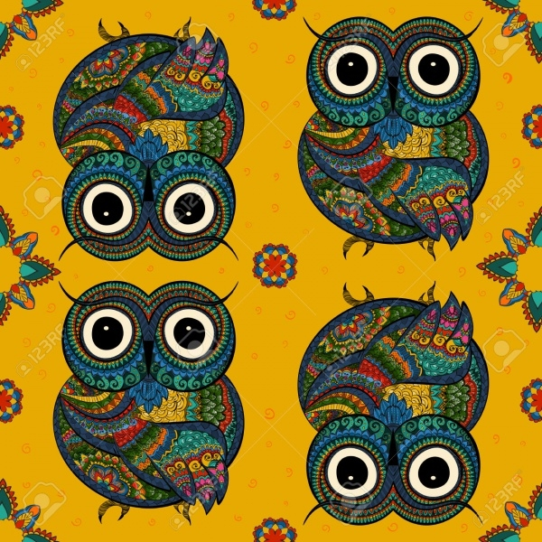 Tribal Illustration of Owl Set