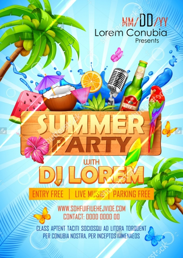 18 Summer Party Invitations PSD Vector EPS JPG Download – Summer Party Invite