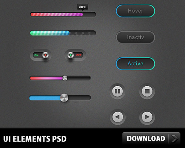 UI Elements Sliders Buttons Set