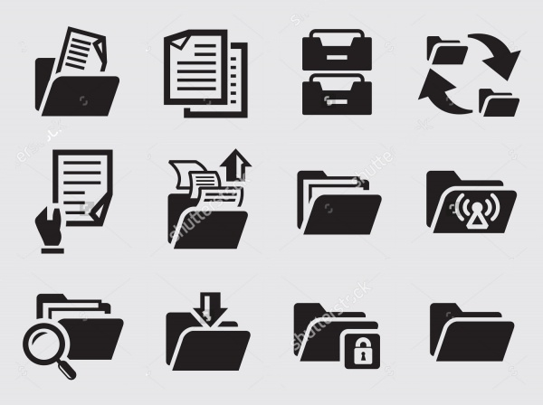 Vector Black Folder Icons
