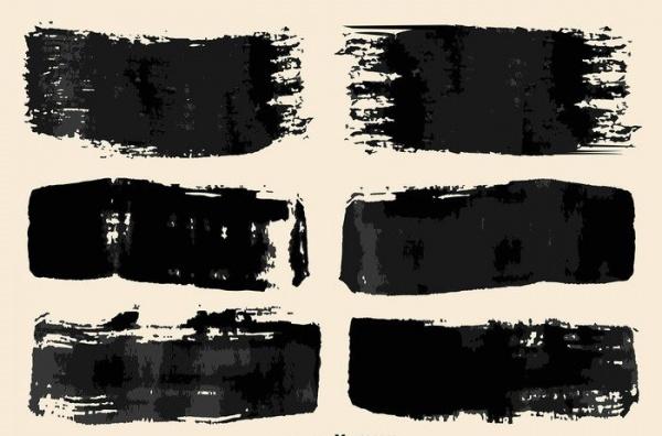 Vector Black Paint Brush Strokes