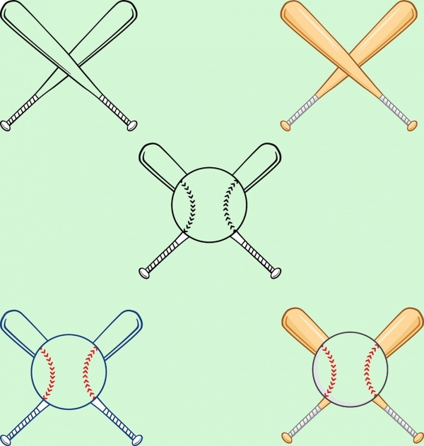 Vector Crossed Baseball Bats