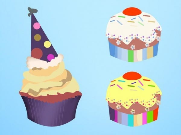Vector Graphics of Colorful Cupcakes