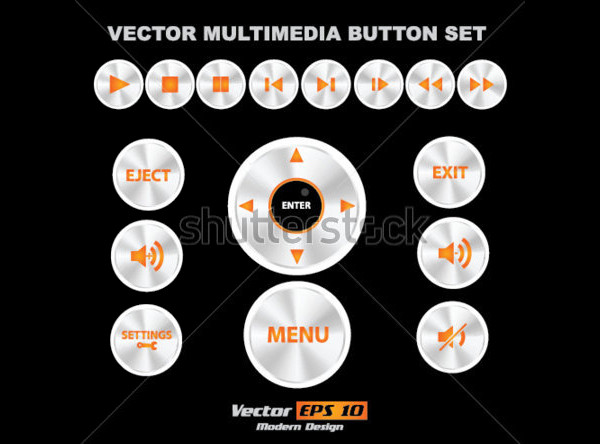 Vector Multimedia Buttons