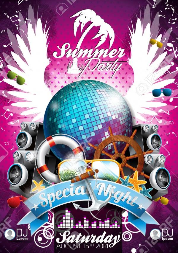 Vector Tropical Beach Party Flyer