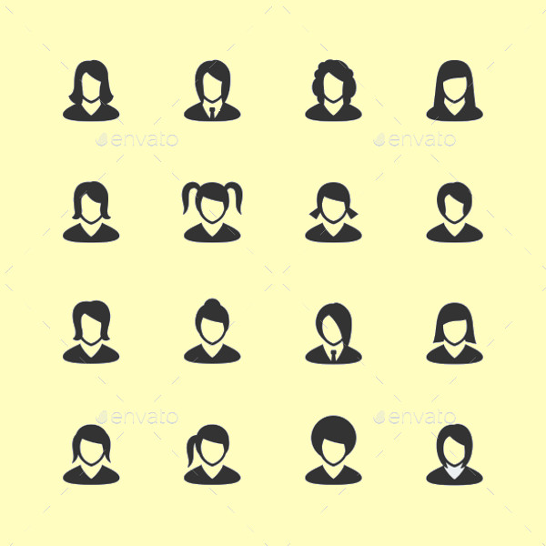 Vector Women Mini Icons Set