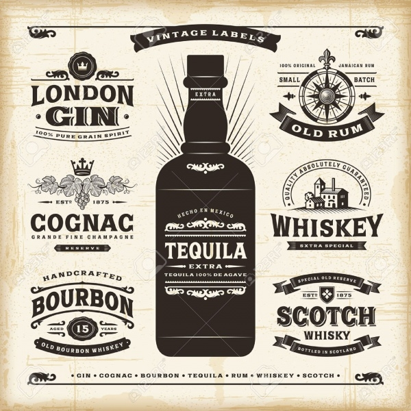 Vintage Alcohol Bottle Label Design