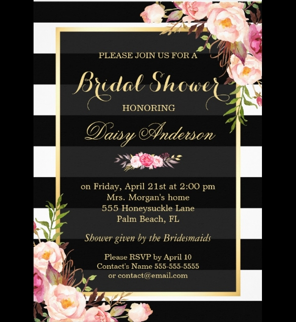 Vintage Floral Wedding Bridal Shower Invitation