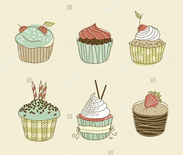 Vintage Vector Cupcakes
