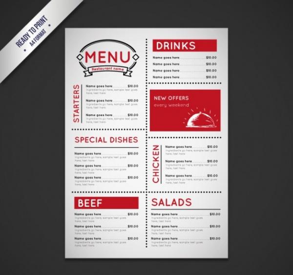 Vintage menu Free Vector