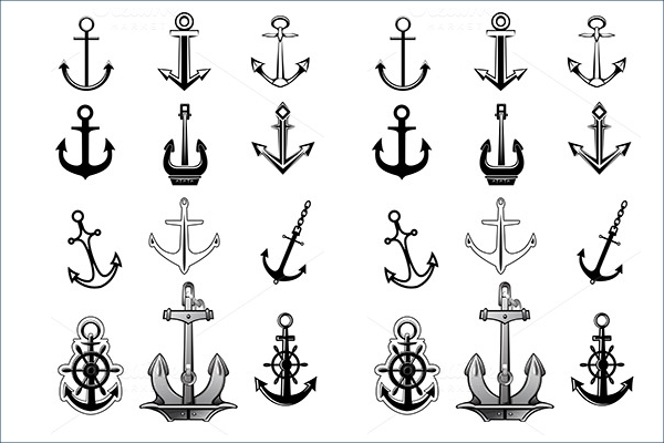 Vintage & modern anchor icons