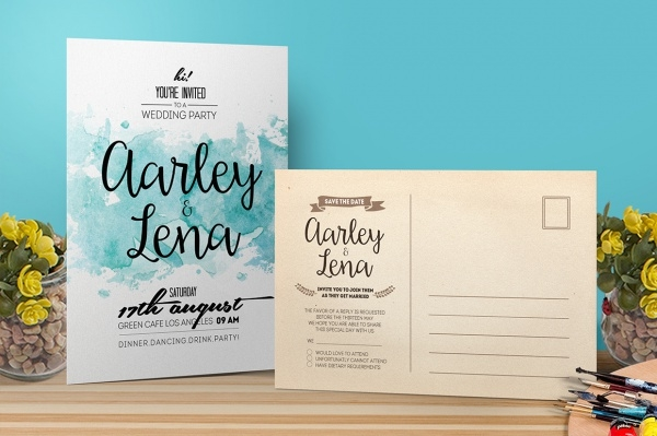 Watercolor Engagement Invitation