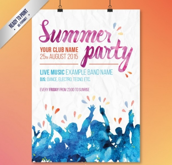 Watercolor Summer Party Invitation