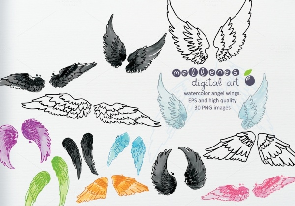 Watercolor Vector Wings