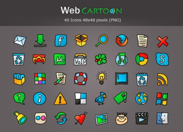 Web Cartoon Icon Pack