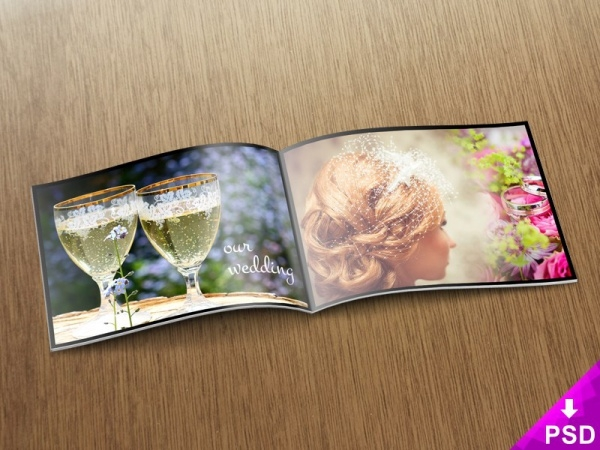 Wedding Photo Album Mock-up Free PSD
