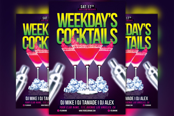 Weekend Cocktail PSD Flyer