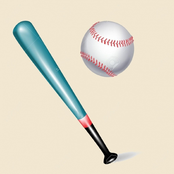 White Isolated Baseball Bat Vector