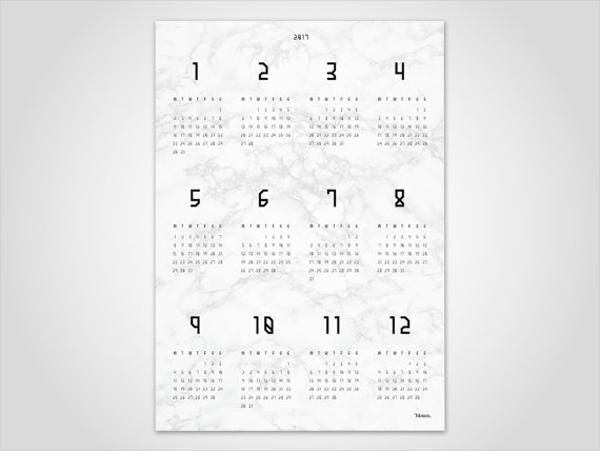 White Marble Wall Calendar