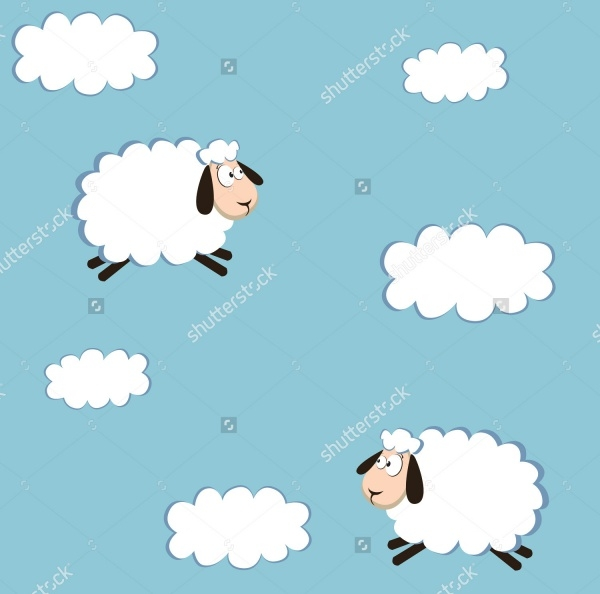 white sheep and cloud pattern