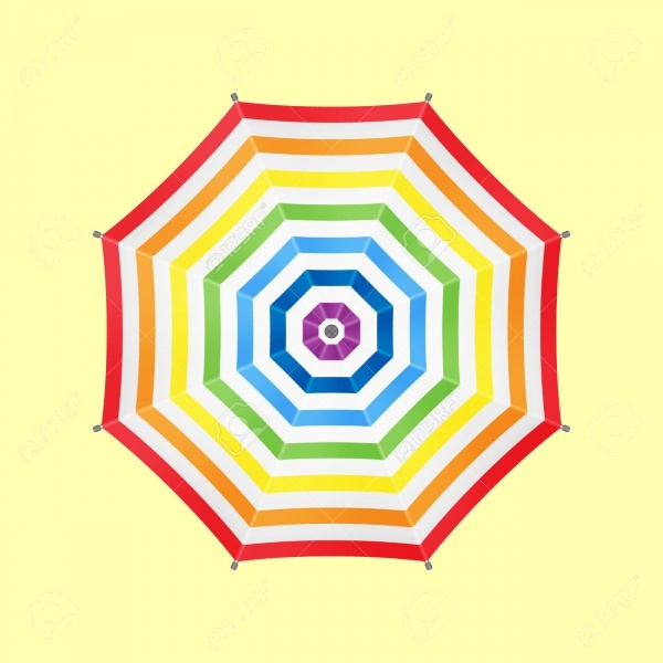 White Umbrella With Rainbow Stripes Mockup