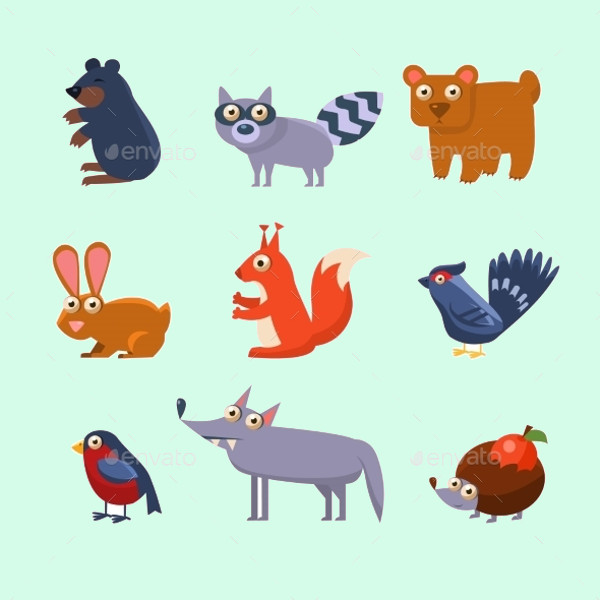 Wild Forest Animals Illustration Vector